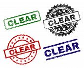 Clear Seal Prints With Distress Surface. Black, Green, Red, Blue Vector Rubber Prints Of Clear Tag W poster