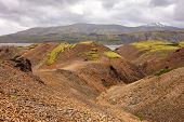 Landscape Of Red Mountains And Moss In Lonsoraefi, Iceland With Overcast Weather poster