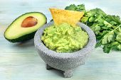 A Photo Of Guacamole Sauce In A Molcajete, Traditional Mexican Mortar, On A Teal Background, With A  poster
