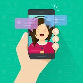 Chat On Smartphone Vector Illustration, Flat Cartoon Messages Notification Bubbles On Mobile Phone S poster