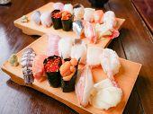 Sushi Set From Otaru, Hokkaido, Japan. Variety Of Sushi Such As Shrimp, Carp, Urshin, Tuna Sushis On poster