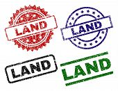 Land Seal Prints With Distress Texture. Black, Green, Red, Blue Vector Rubber Prints Of Land Label W poster