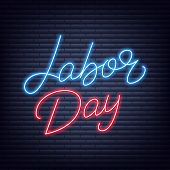 Labor Day Neon Lettering. Usa Labor Day Glowing Text Label. poster