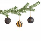 Realistic Vector Christmas Tree Branch And Balls. Pine Tree Branch With Christmas Balls. Black And G poster