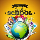 Back To School Design With Colorful Pencil, Eraser And Other School Items On Yellow Background. Vect poster