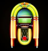 picture of jukebox  - Vector illustration in eps 10 of retro style detailed classic juke box - JPG