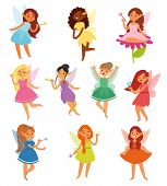 Fairy Girl Vector Magic Faery Character And Fantasy Beautiful Princess Of Fairy-tale In Fairyland Il poster