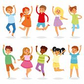 Jumping Kids Vector Yong Child Character In Jump Activity In Childhood Illustration Set Of Playful C poster