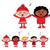 Happy Smiling Caroling Multicultural Kids Singing Song