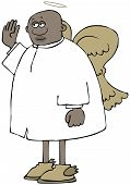 Illustration Of A Black Male Angel Wearing Wings And A Halo Waving With His Right Hand. poster