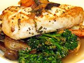 stock photo of swordfish  - This is an image of swordfish shrimp and vegetables - JPG