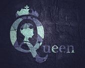 Vintage Queen Silhouette. Medieval Queen Profile. Elegant Silhouette Of A Female Head. Short Hair. R poster