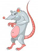 Cartoon Character Rat Isolated on White Background. Vector.