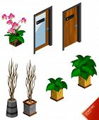 Plant and Door. Isometric Series. Compose Your Own World Easily with Isometric Works.