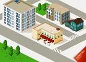 Cafe and Buildings Isometric