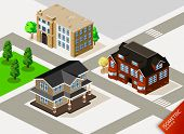 stock photo of duplex  - Rich House Isometric - JPG