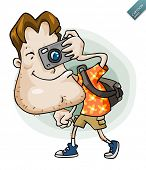 Tourist on vacation. Detailed vector illustration in isolated in white.