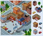 Rest Area and Cafe. Set of very detailed isometric vector