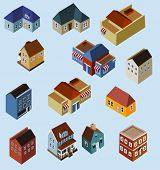 stock photo of duplex  - Set of Isometric Buildings - JPG
