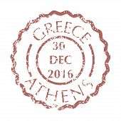 Colored Grungy Postal Stamp From Greece City Athens. Isolated Vector Illustration. poster