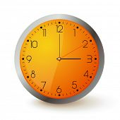 Wall clock with orange face and metal round