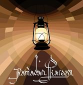 Illustration of Classic Ramadan Lantern with ramadan kareem greetings in english calligraphy