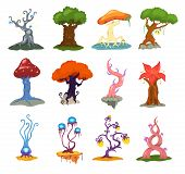 Magic Tree Vector Fantasy Forest With Cartoon Treetops And Magical Plants Or Fairy Flowers Illustrat poster