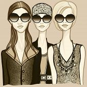 Vector illustration of three women with sunglasses