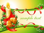 vector christmas background with candle bells and tree