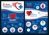 Heart Health Brochure Or Cardiology Clinic Medical Posters. Vector Design Of Cardiologist Doctor Wit poster