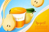 Pears Yogurt Ads Template Background. Yogurt Ads. Place For Your Text. poster