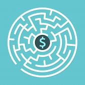 Dollar Sign In Center Of Circular Maze On Turquoise Blue Background. Money, Wealth And Business Conc poster