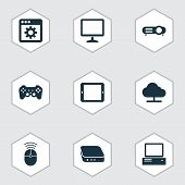 Gadget Icons Set With Online Cloud, Projector, Control Device And Other Desktop Elements. Isolated V poster