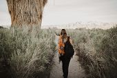 Back Side Of Boho Woman In The Desert Nature With Backpack.  Artistic Photo Of Young Hipster Travele poster