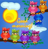 A Owls On A Tree Branch In The Morning, The Sun Shines And Smiles. Inscription Good Morning. Morning poster