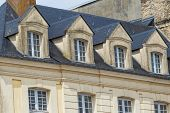 Facades Of Traditional Residential Houses With Mansard Stores In Dieppe, Normandy Region, France. No poster