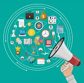Loudspeaker Or Megaphone In Hand And Different Icons. Digital Marketing, Social Media, Network. Anno poster
