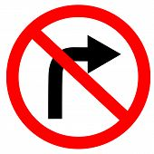 Circular Single White. Red And Black No Turn Right Symbol. Do Not Turn Right At Traffic Road Sign On poster
