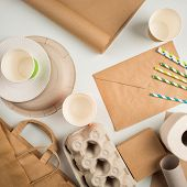 Wastepaper And Products Made From Recycled Paper: Disposable Tableware, Package, Box, Cardboard, Egg poster