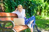 Girl Sit Bench With Notebook Call Phone. Save Your Time With Shopping Online. Shopping Online. Woman poster