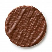 Whole Chocolate Rice Cake Isolated On White From Above. poster