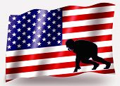 Country Flag Sport Icon Silhouette - Usa American Football Skrimmage Small