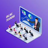 Isometric Concept Online Training. 3d Training With People On Laptop. People At Business Training. V poster