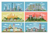 Cityscape Vector City Landscape With Urban Architecture Building Or Construction And Houses In The T poster