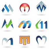 illustration of abstract icons based on the letter M