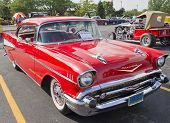 Two Door 57 Chevy Red