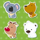 pic of koalas  - cute animal stickers with kangaroo koala elk and polar bear - JPG