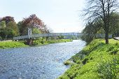 Pedestrian Bridge Over River Tweed At Peebles