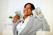 Charming Woman Holding Plenty Of Cash Money