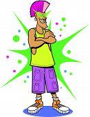 picture of mohawk  - Retro Punk Rocker with Mohawk Clip Art - JPG